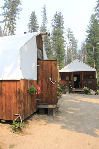 rustic cabin tent door at the glamping site