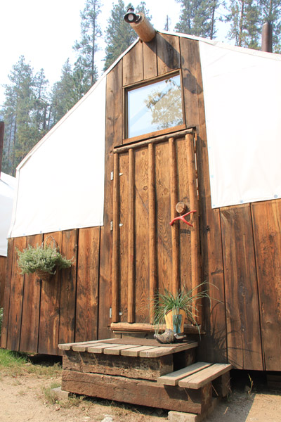 door to cabin tent by storm creek outfitters