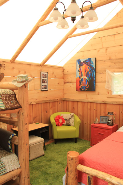 photo of art and chair in a glamping tent in idaho