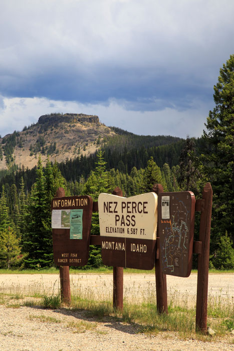 signs of the nez perce pass on the idaho montana border