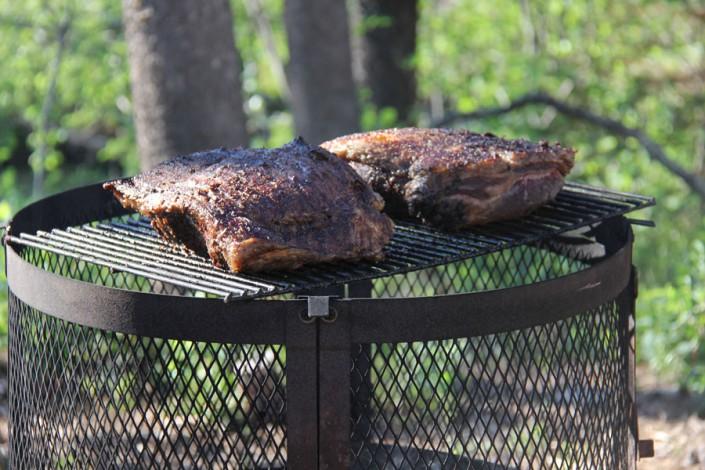 gourmet beef prepared for glamping